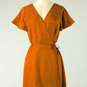 Animal Print Textured Wrap Dress